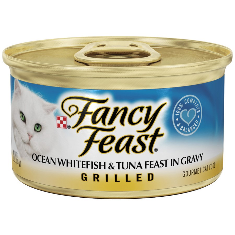 Purina Fancy Feast Grilled Ocean Whitefish & Tuna Feast in Gravy Cat Food Case of 24- 3 oz. Cans