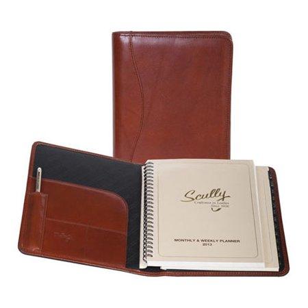 Scully Desk Side Agenda Italian Leather 5009 Cognac OSFA Leather Travel Agenda