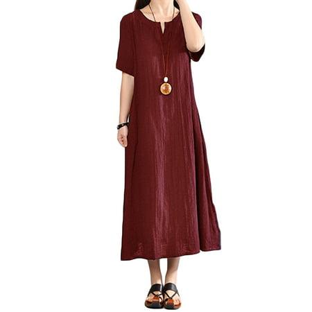 Women's Loose V Neck Short Sleeve Cotton Linen Comfy Dresses
