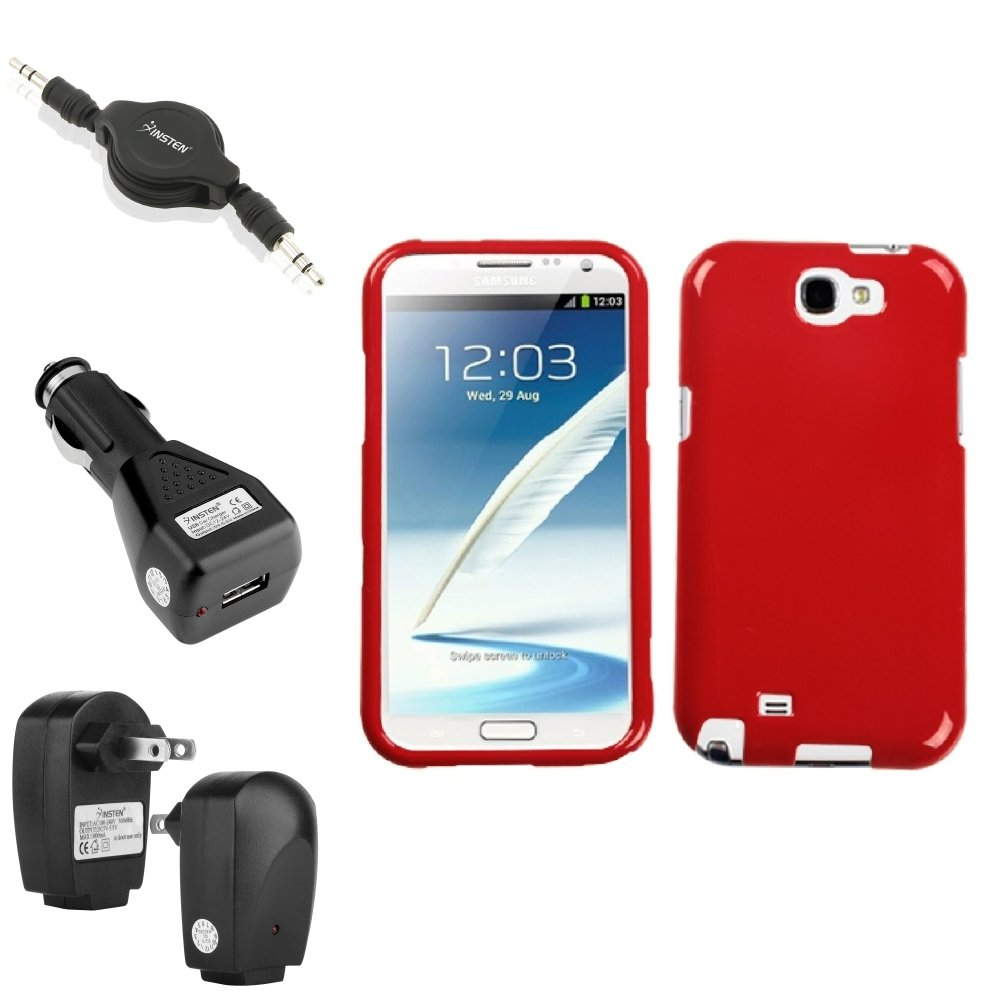 Insten Flaming Red Hard Case 2x Charger Audio Cable For Samsung Galaxy Note 2 II
