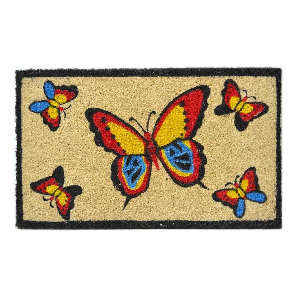 Imports Décor Handmade Outdoor Coconut Fiber Butterflies Door Mat (2'6 x 1'6)