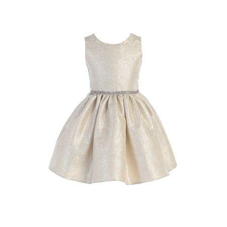 Sweet Kids Girls Silver Ornate Imperial Brocade Christmas Dress - Christmas Dresses For Kids