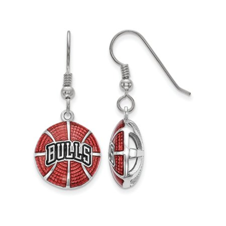 Logoart Sterling Silver Chicago Bulls Enameled Basketball Dangle Earrings