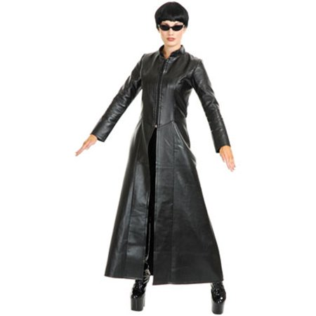 Womens Street Fighter Diva Black Faux Leather Long Jacket Coat