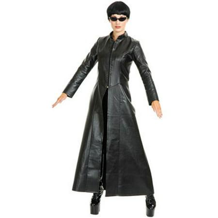 Womens Street Fighter Diva Black Faux Leather Long Jacket Coat - Earle Street Halloween