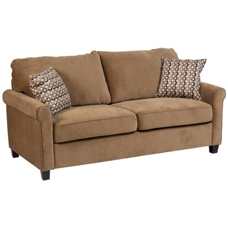 Serena Plush Microfiber Queen Sleeper Sofa - Khaki Plush Microfiber Sofa