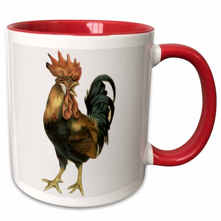 3dRose Vintage Antique Bird Illustration Cock Rooster Chicken - Two Tone Red Mug, 11-ounce ()