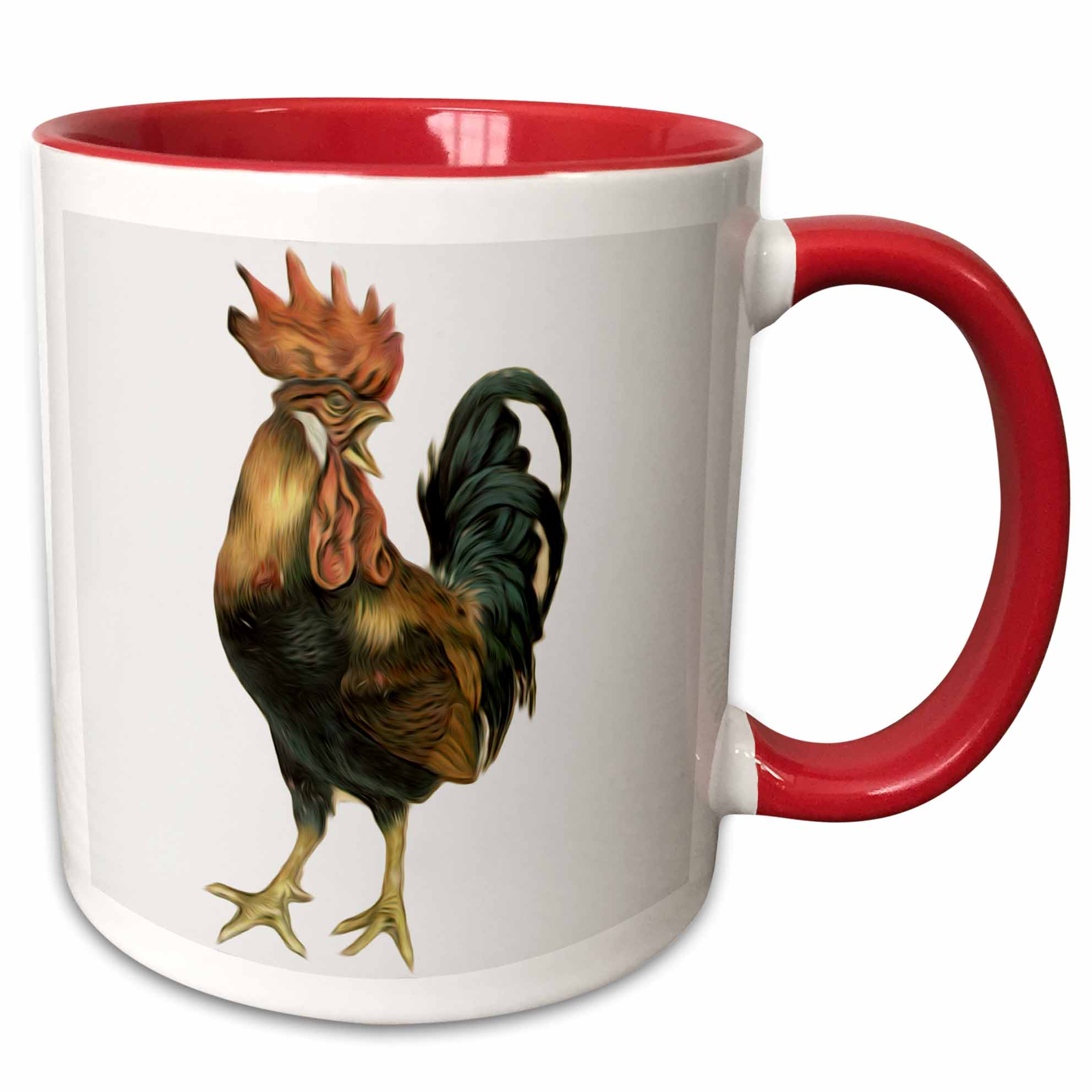 3dRose Vintage Antique Bird Illustration Cock Rooster Chicken - Two Tone Red Mug, 11-ounce