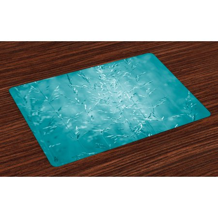 Turquoise Placemats Set Of 4 Blur Meadow Grass Plant Herb