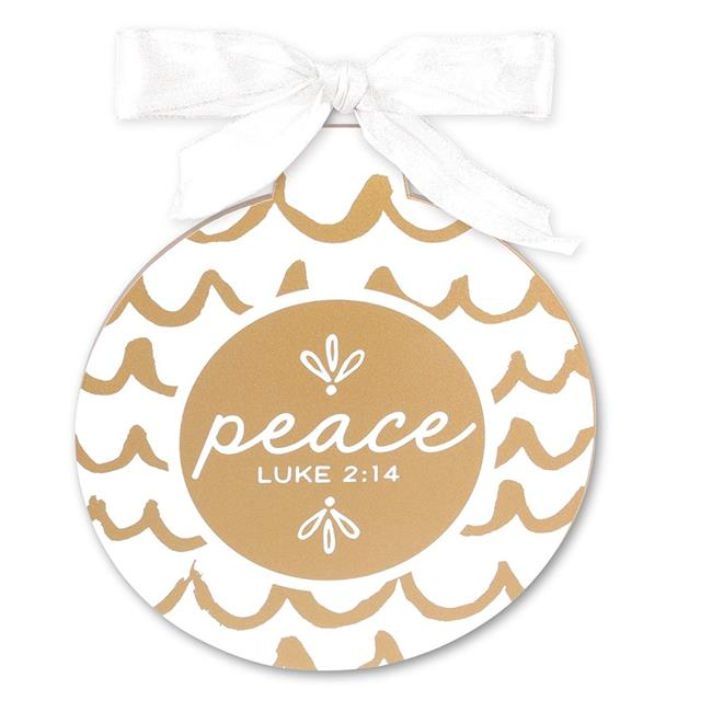 Lighthouse Christian Products 187918 Gold & White Peace Christmas Ornament - image 1 de 1