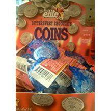 Elite Hanukkah Parve Chocolate Gelt Coins - Box 24 Sacks (Bittersweet) - Bulk Chocolate Coins