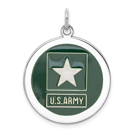 925 Sterling Silver Us Army Star Disc Necklace Pendant Charm Military For Women