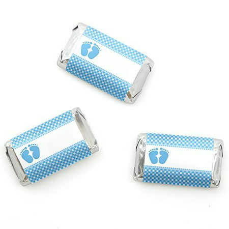 baby feet blue baby shower mini candy bar wrappers party. Black Bedroom Furniture Sets. Home Design Ideas