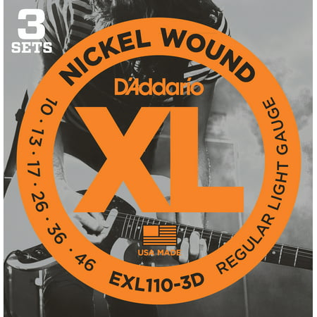 D'Addario EXL110-3D Nickel Wound Electric Guitar Strings, Regular Light, 10-46, 3 Sets ()