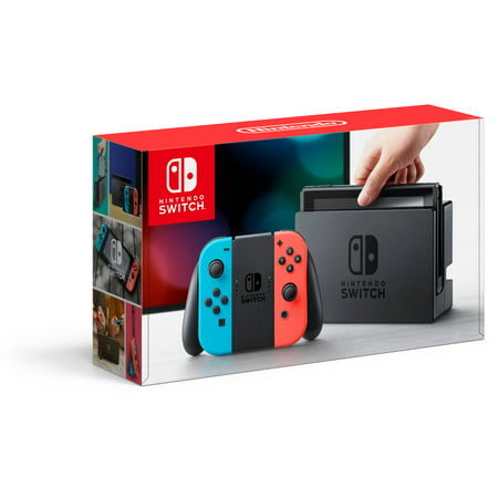 Nintendo Switch Console With Neon Blue   Red Joy Con  Hacskabaa