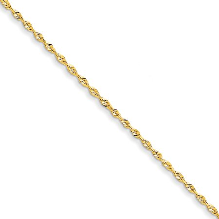 14k Yellow Gold 2mm Link Rope Chain Anklet Ankle Beach Bracelet 9 Inch Handmade Fine Jewelry For Women Gift (Tonneau Yellow Bracelet)