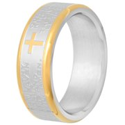 Men's Stainless Steel Two-Tone 7MM Lord's Prayer Wedding Band - Mens Ring