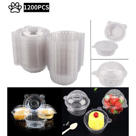 Clear Plastic Cupcake Boxes, 1200pcs Individual Cupcake Muffin Dome Holders Single Cake Case Clamshell Container Carrier Cases Boxes Cups Pods ()