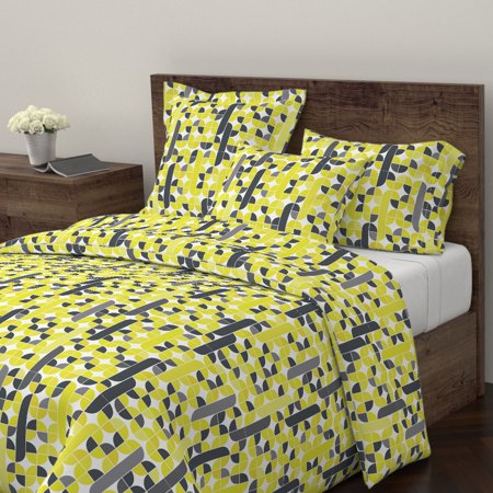 Citron Citron Dream Yellow Green Gold White Gray Sateen Duvet Cover by Roostery