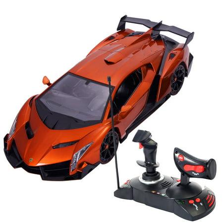 Costway 1 14 Lamborghini Veneno Electric Sport Radio Remote Control Rc Car Orange Kids Toy