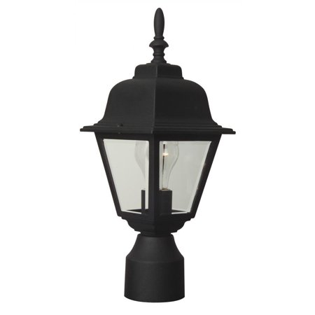 Z175-05 Post Mount Light with Beveled Glass Shades, Black Finish, One light post mount from the coach lights collection By Craftmade From (Coach Shades)