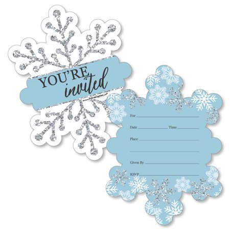 Winter Wonderland - Shaped Fill-In Invitations - Snowflake Holiday Party and Winter Wedding Invitation Cards - 12 Ct for $<!---->