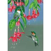 """Hummer's Delight Garden Flag Spring Custom Decor 12"""" x 18"""" Seasonal"""