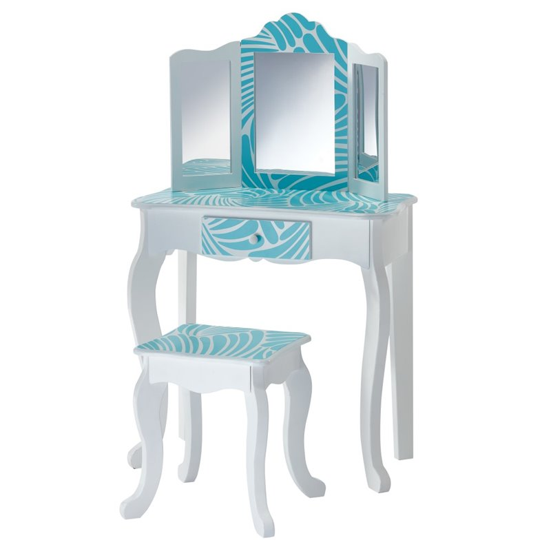 Kingfisher Lane Kids Tropical Vanity Table and Stool Set
