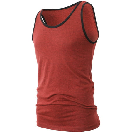 Men's Athletic Sportswear Sleeveless Tank Top T-Shirts with Contrast Binding