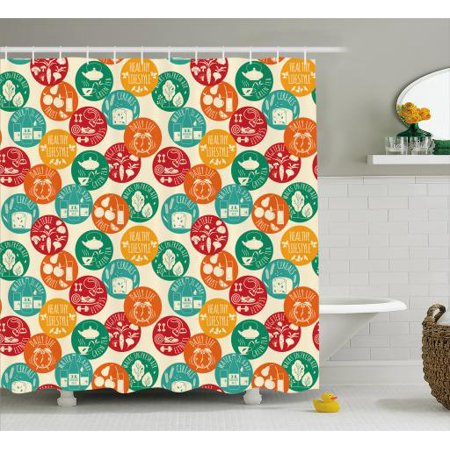 Fitness Shower Curtain Healthy Lifestyle Icons Colorful Spots Green Tea Cereals Water Walks Cute Retro