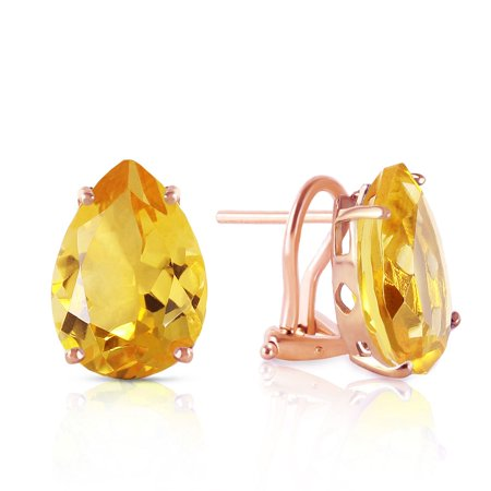 ALARRI 10 CTW 14K Solid Rose Gold Pear Shape Citrine