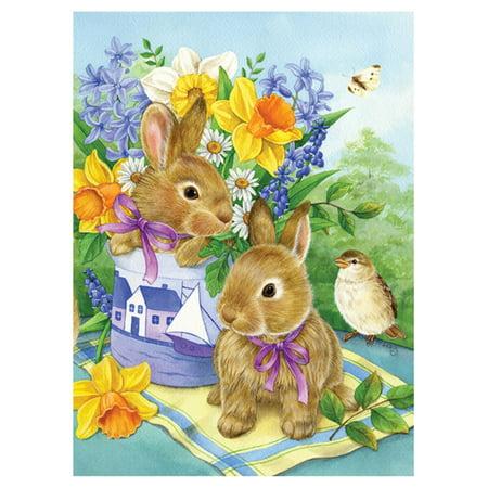 Bunny Mini Flag - Toland Home Garden Bunny Bouquet Flag