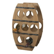 "22.25"" Country - Rustic Wooden Barrel Design Wine Rack - 7 Bottle Storage"