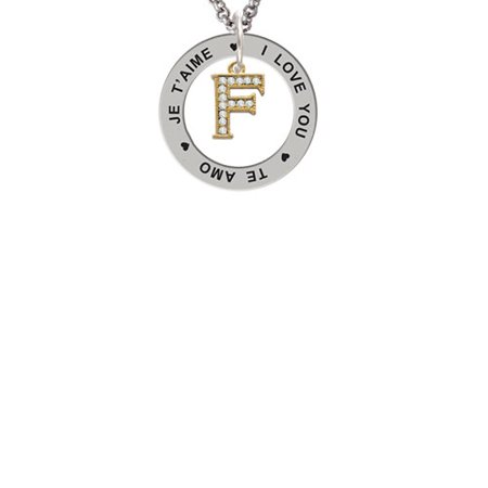 Gold Tone Small Crystal Initial   F   I Love You Je Taime Te Amo Affirmation Ring Necklace