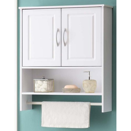 4d concepts white bathroom wall cabinet with two doors walmart com