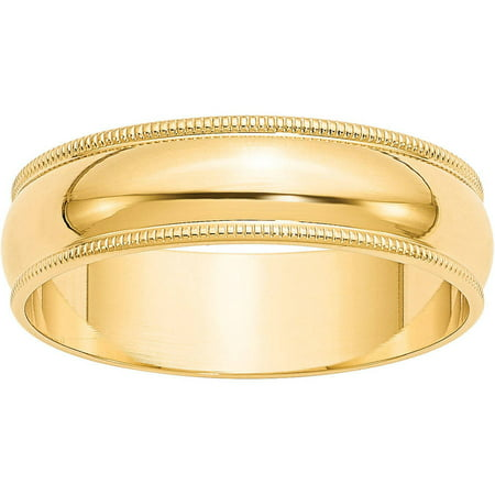 14KY 6mm LTW Milgrain Half Round Band Size 7 (Gold Ring For Men Size 6)