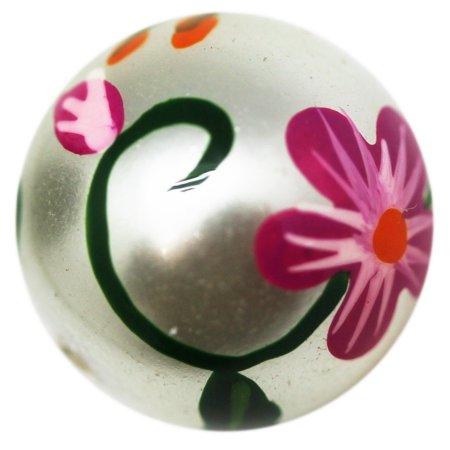 Gray Colored Spherical Bead With Painted Floral Design (Small) - Floral Beads