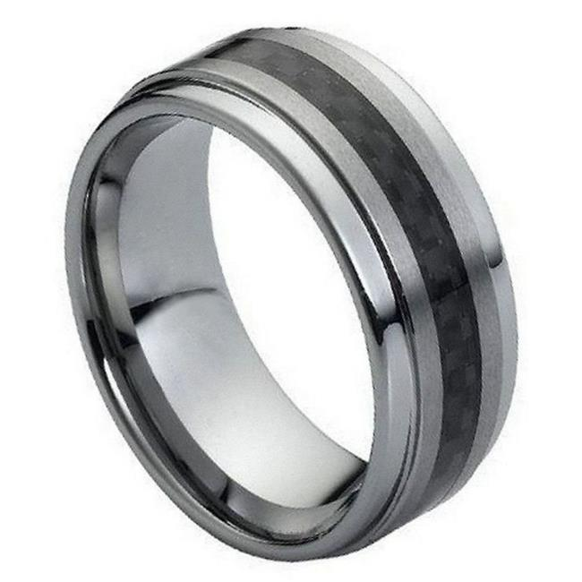 TK Rings 078TR-9mmx9.0 9 mm Black Carbon Fiber Inlay on Brushed Center Tungsten Ring - Size 9 - image 1 of 1