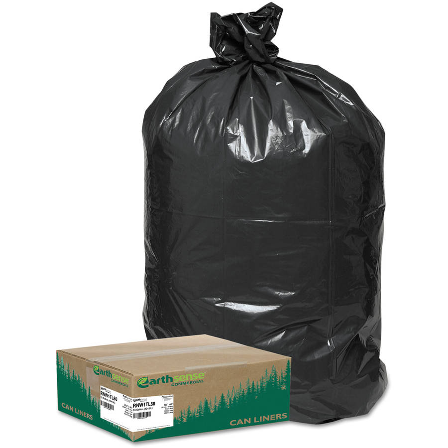 Earthsense Commercial Earthsense Large Black Trash & Yard Bags, 33 gal, 80 ct
