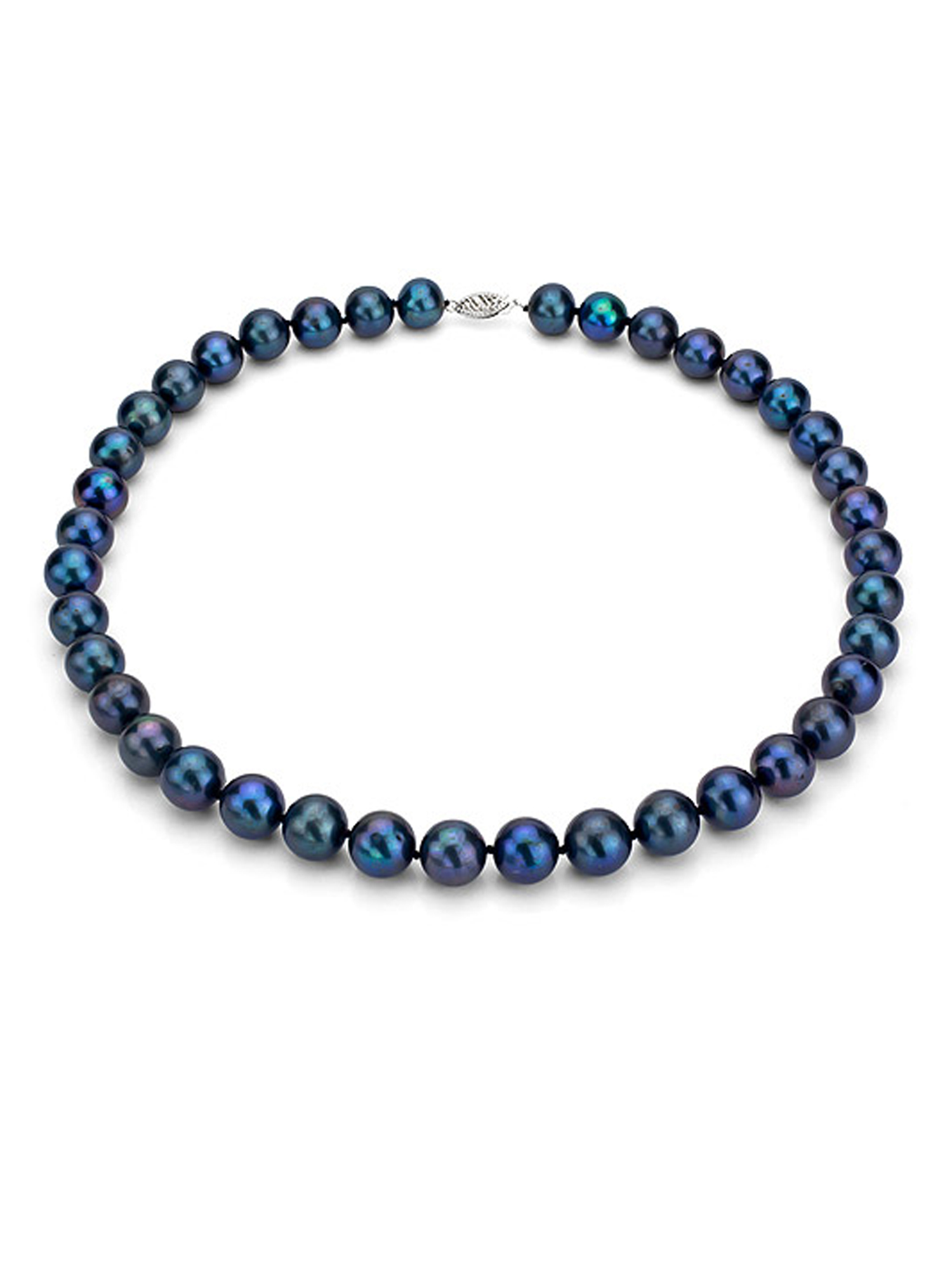 """Ultra-Luster 9-10mm Black Genuine Cultured Freshwater Pearl 18"""" Necklace and Sterling Silver Filigree Clasp by ADDURN"""