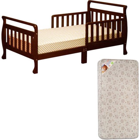 Classic Sleigh Toddler Bed - Athena Classic Sleigh Toddler Bed (Your Choice in Finish) with Mattress