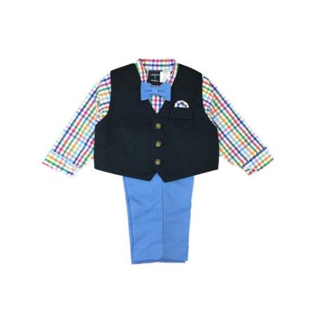 7a268e4d9047 Infant   Toddler Boys Colorful Blue Plaid Suit Dress Up Outfit Bow Tie ...