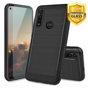TJS Phone Case Compatible for Motorola Moto G Power (2020), with [Tempered Glass Screen Protector] Hybrid Shockproof Resist Drop Protection Cover Metallic Brush Finish Hard Inner Layer (Black)