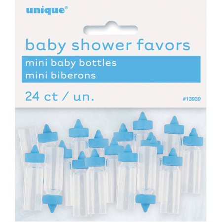 Mini Plastic Baby Bottle Baby Shower Favor Charms, 1 in, Blue, 24ct - Babyshower Favors