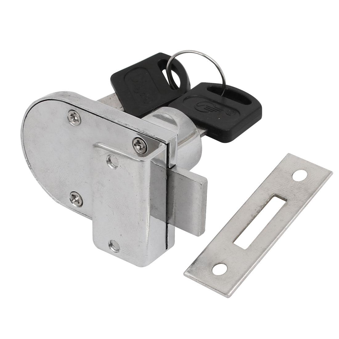 Unique Bargains Glass Door Showcase Metal Screw Mounted Security Lock 9mm Thickness w 2 Keys - image 3 de 4