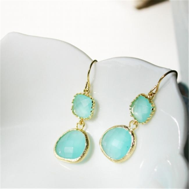 Rebecca GDEGT Gemstone Dangle Earrings - Gold Turq