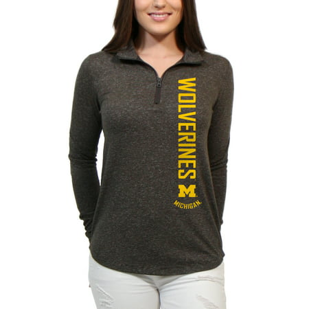 Long Cascade (Michigan Wolverines Cascade Text Women's/Juniors Team Long Sleeve Half Zip Shirt )