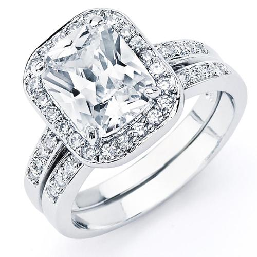 Oliveti Sterling Silver Radiant-cut Cubic Zirconia Bridal-style Ring Set Size 5