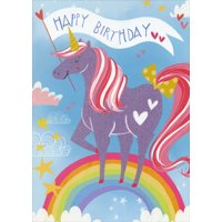 Paper House Productions Unicorn with Flocked Surface on Rainbow Birthday Card For Kids