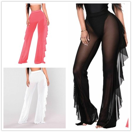 Sheer Cover Ingredients (Sexy Women Beach Mesh Ruffles Sheer Wide Leg Pants Bikini Cover Up Trousers Mesh Sheer See Through Plus Size Swimwear)